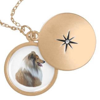 Rough Collie dog portrait photo Locket Necklace