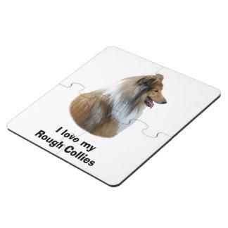 Rough Collie dog portrait photo Puzzle Coaster
