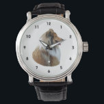 """Rough Collie dog portrait photo Wrist Watch<br><div class=""""desc"""">A beautiful cute fawn and white rough long haired collie sheep dog photo, for animal and pet lovers and dog owners, easily change the background color from over 200 customizable colors, and personalize with your own text, for your dog, or kennel. You can even change the photograph for one of...</div>"""