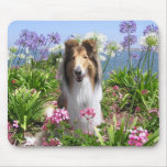 Rough Collie in Flowers Mousepad