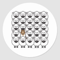 Rough Collie in the Sheep Classic Round Sticker
