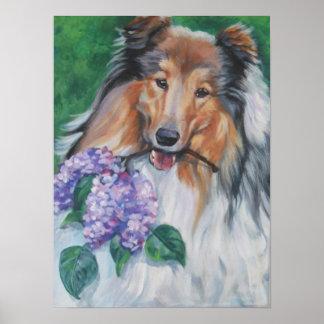 rough collie lilac art print
