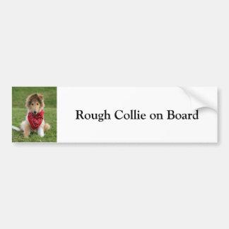 Rough Collie on board custom bumper sticker