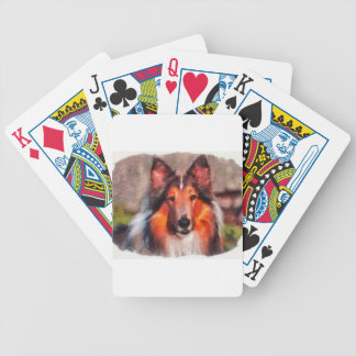 Rough Collie Bicycle Playing Cards