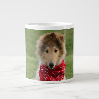 Rough collie puppy dog cute beautiful photo large coffee mug