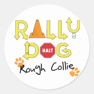 Rough Collie Rally Dog Classic Round Sticker