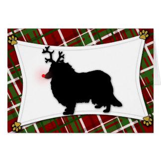 Rough Collie Reindeer Christmas Card