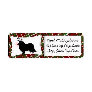 Rough Collie Reindeer Christmas Return Address Label