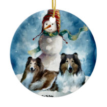 Rough Collie with Snowman Christmas Ceramic Ornament