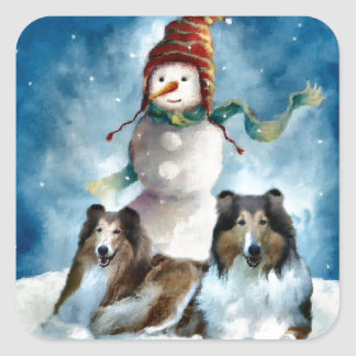 Rough Collie with Snowman Christmas Square Sticker