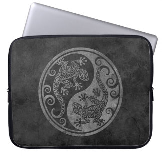 Rough Dark Stone Yin Yang Geckos Laptop Computer Sleeves