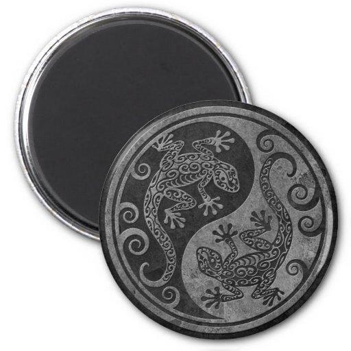 Rough Dark Stone Yin Yang Geckos 2 Inch Round Magnet
