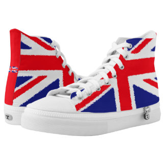 Rough edge Union Jack, white tongue High-Top Sneakers