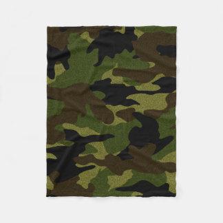 Rough Green Camo Military Custom Fleece Blankets