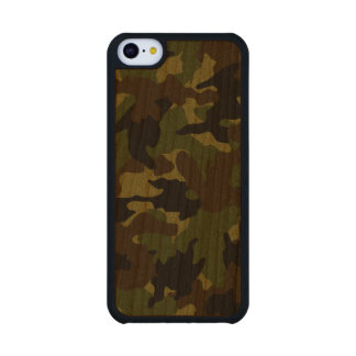 Rough Green Camo Military Wood iPhone 5C Cases Carved® Cherry iPhone 5C Case