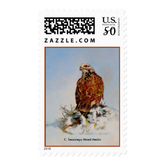 Rough Legged Hawk, C. Sessarego Mixed Media Postage