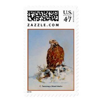 Rough Legged Hawk, C. Sessarego Mixed Media Postage Stamp