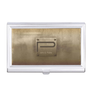 Rough Metal Plate Bronze ID327 Business Card Case