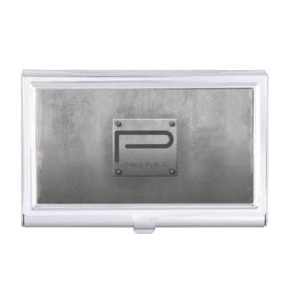 Rough Metal Plate Gray Business Card Holders