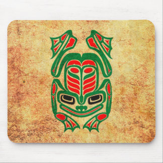 Rough Native Haida Art Frog, red green Mouse Pad