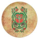 Rough Native Haida Art Frog, red green Dinner Plates