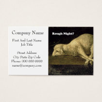 Rough Night Funny Sheep Lamb Vintage Painting Business Card
