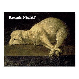 Rough Night Funny Sheep Lamb Vintage Painting Postcard