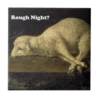 Rough Night Funny Sheep Lamb Vintage Painting Tiles