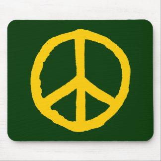 Rough Peace Symbol - Amber on Dark Green Mousepad