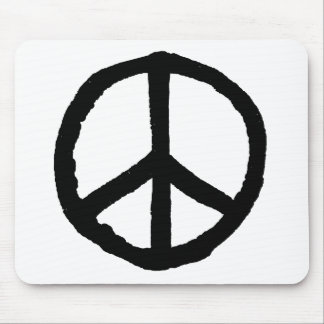 Rough Peace Symbol - Black on White Mouse Pads