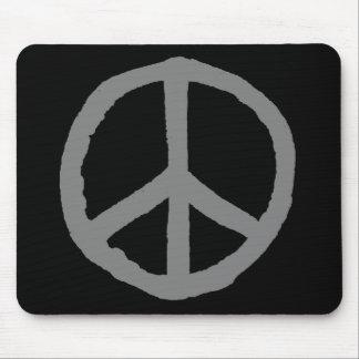 Rough Peace Symbol - Gray on Black Mousepads