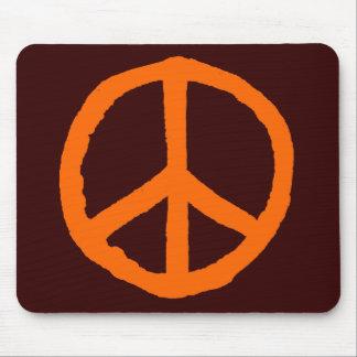 Rough Peace Symbol - Orange on Dark Brown Mousepad