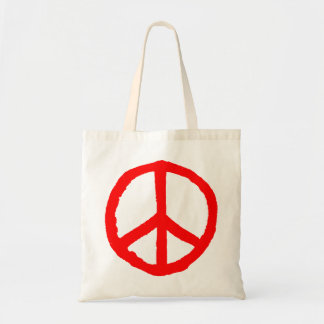 Rough Peace Symbol - Red Tote Bag