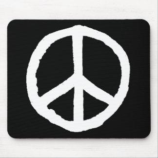 Rough Peace Symbol - White on Black Mousepad