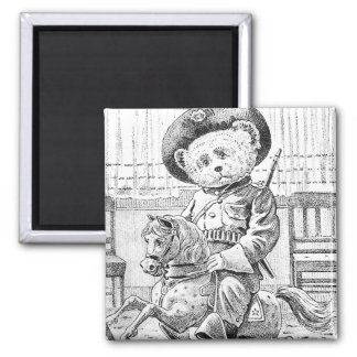 Rough Rider Teddy Bear on Rocking Horse 2 Inch Square Magnet