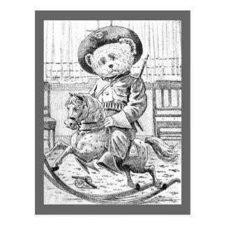 Rough Rider Teddy Bear on Rocking Horse Post Card