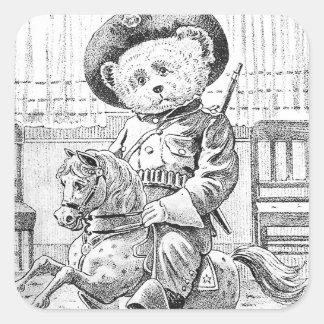 Rough Rider Teddy Bear on Rocking Horse Square Sticker
