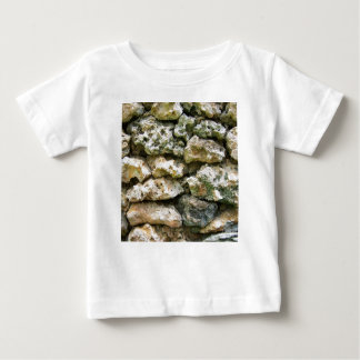Rough rock wall with moss custom background baby T-Shirt