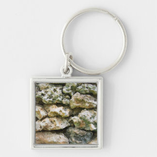 Rough rock wall with moss custom background keychain