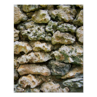 Rough rock wall with moss custom background poster