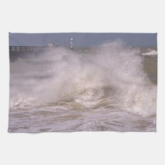 Rough sea at Grandcamp-Maisy Kitchen Towel