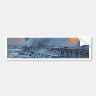 Rough sea at Porto, Portugal Car Bumper Sticker