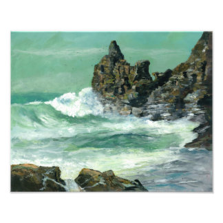 Rough sea at Trevaunance Cove St Agnes Photo Print