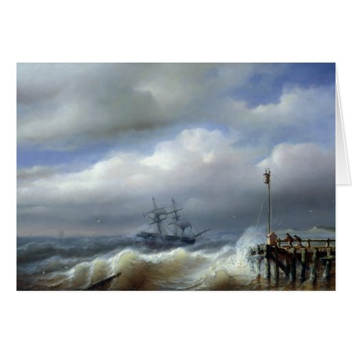 Rough Sea in Stormy Weather, 1846 Greeting Card