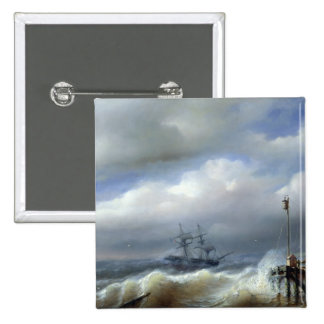 Rough Sea in Stormy Weather, 1846 Pinback Button