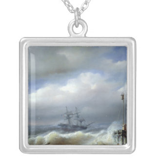 Rough Sea in Stormy Weather, 1846 Silver Plated Necklace