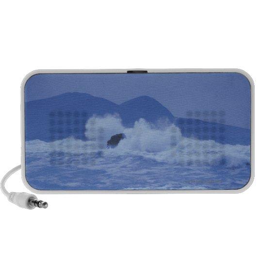 rough seas crashing against a rocky shore mini speaker
