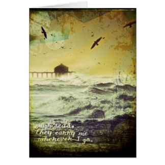 """Rough Seas"" Surf Inspired Digital Art Collage Card"