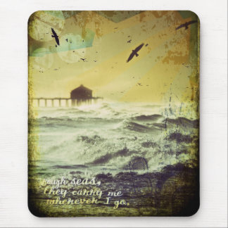 """""""Rough Seas"""" Surf Inspired Digital Art Collage Mouse Pad"""