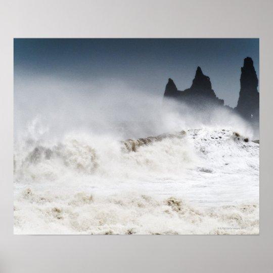 Rough Seas, Vik i Myrdal, Iceland Poster